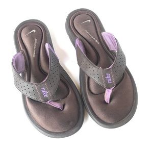 Nike Ultra Comfort Brown Purple Thong Sandals 7